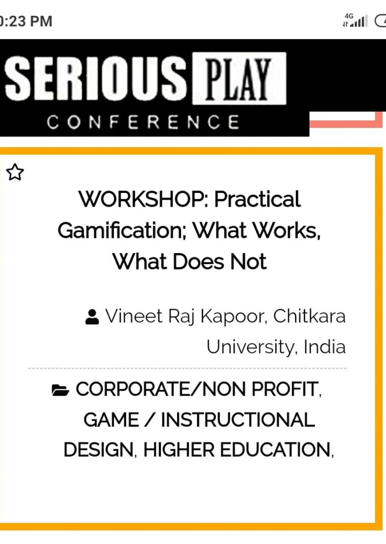 Workshop On Gamification By Vineet Raj Kapoor at Serious Play Conference,USA